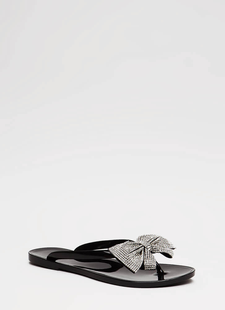 We Like Big Bows Jeweled Jelly Sandals BLACK