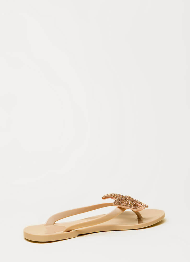 We Like Big Bows Jeweled Jelly Sandals NUDE