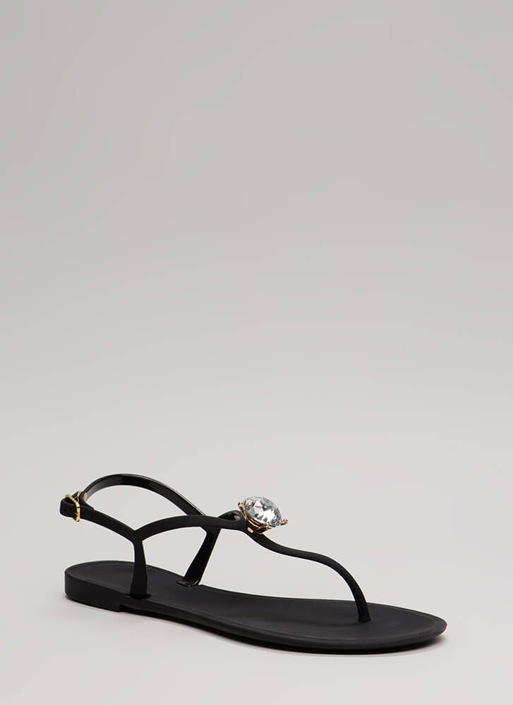 Jewel Time Matte Jelly T-Strap Sandals BLACK