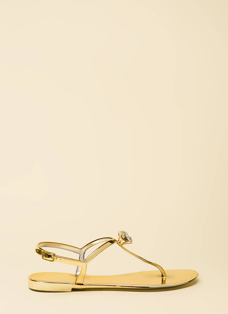 Jewel Time Matte Jelly T-Strap Sandals GOLD