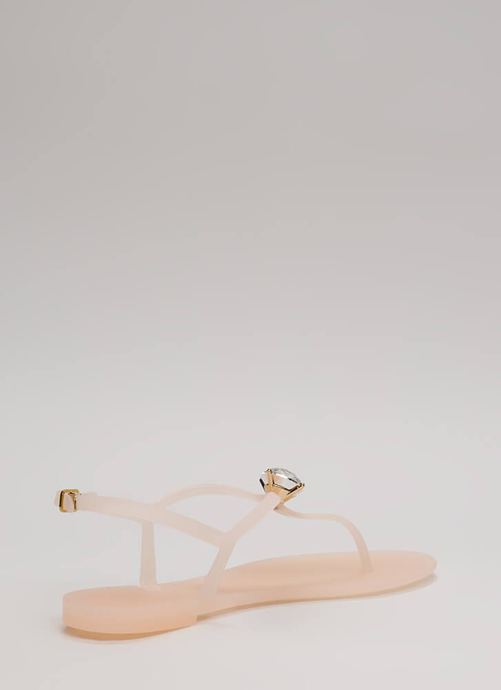 Jewel Time Matte Jelly T-Strap Sandals NUDE