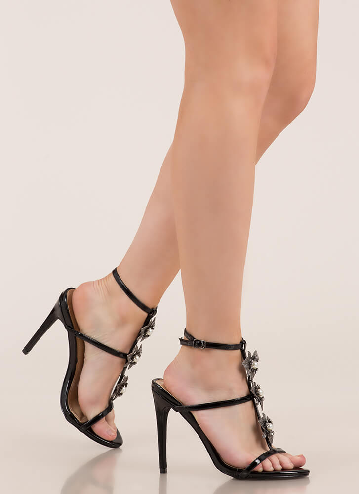 Flowers And Jewelry Strappy Caged Heels BLACK