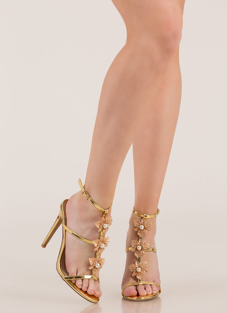 Flowers And Jewelry Strappy Caged Heels GOLD