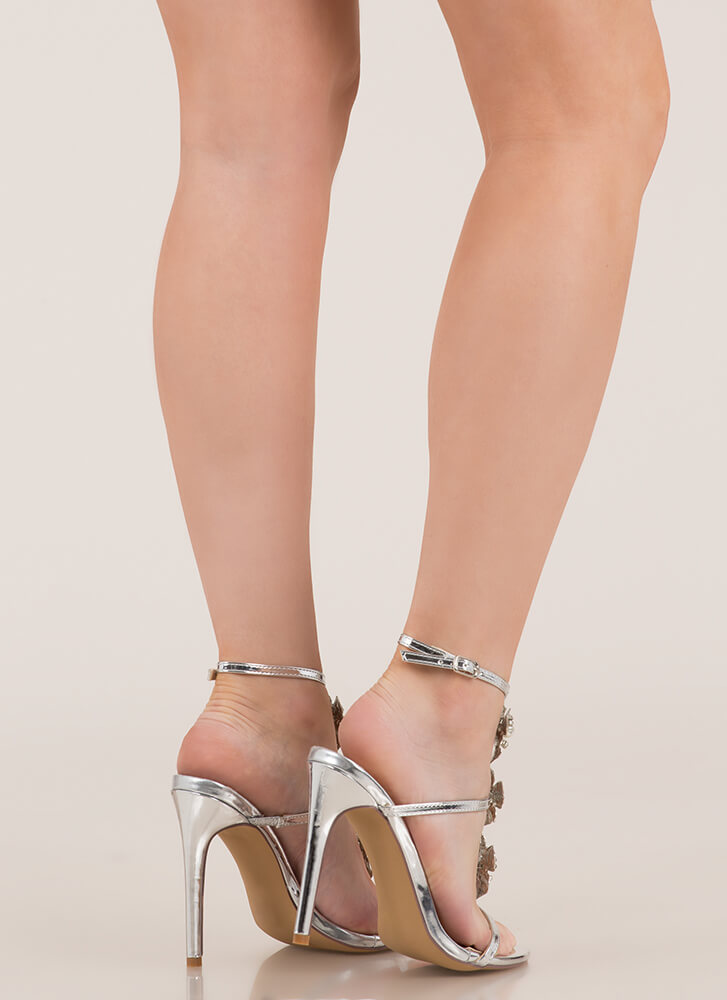 Flowers And Jewelry Strappy Caged Heels SILVER