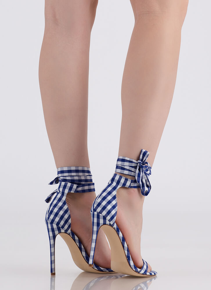 Country Star Lace-Up Gingham Heels BLUE