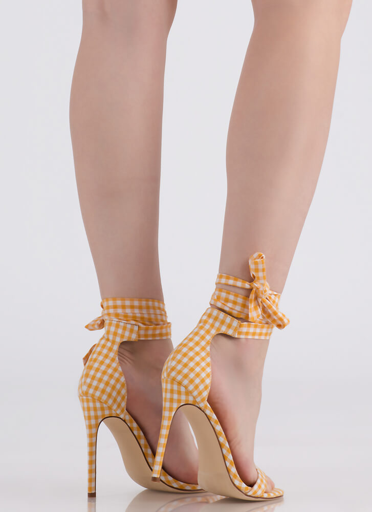 Country Star Lace-Up Gingham Heels YELLOW