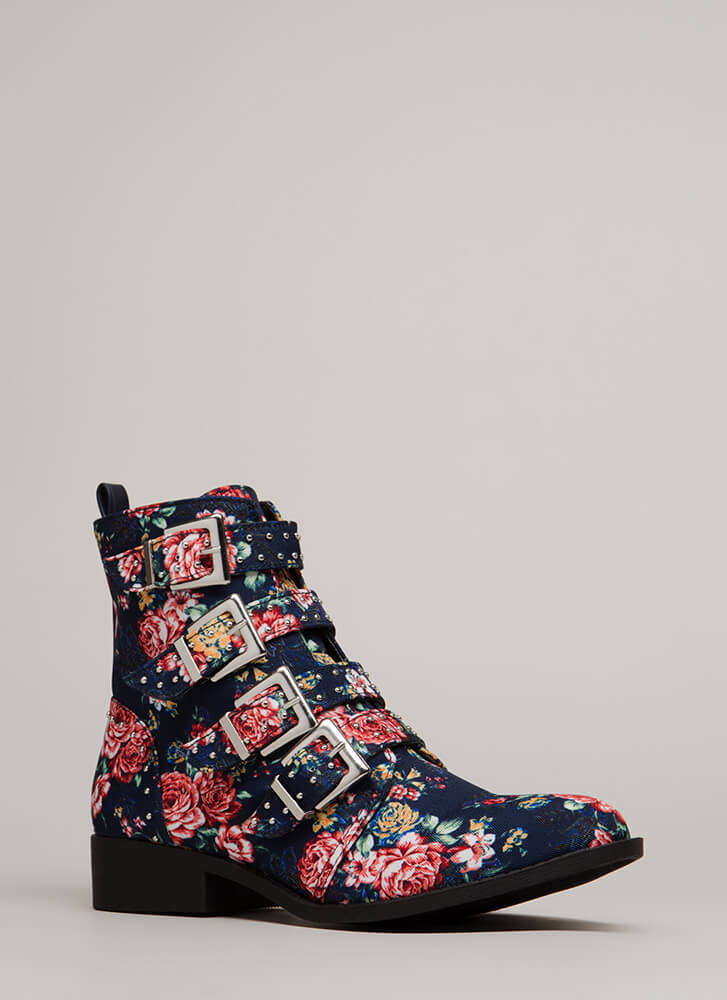 Roses Are Rad Studded Strappy Boots BLUEMULTI