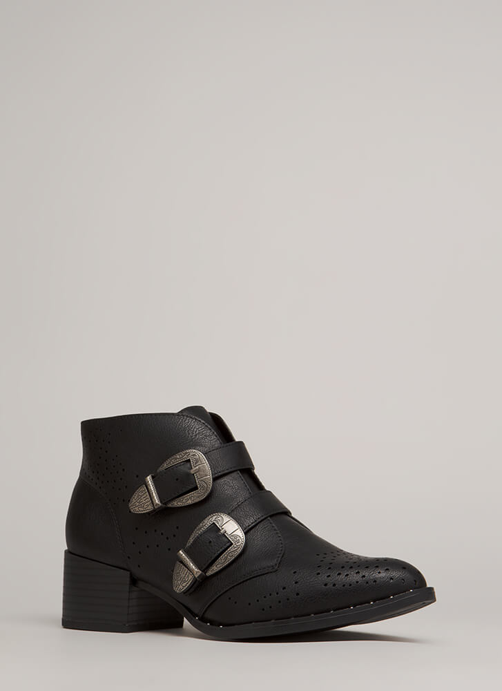 How The West Was Won Buckled Booties BLACK