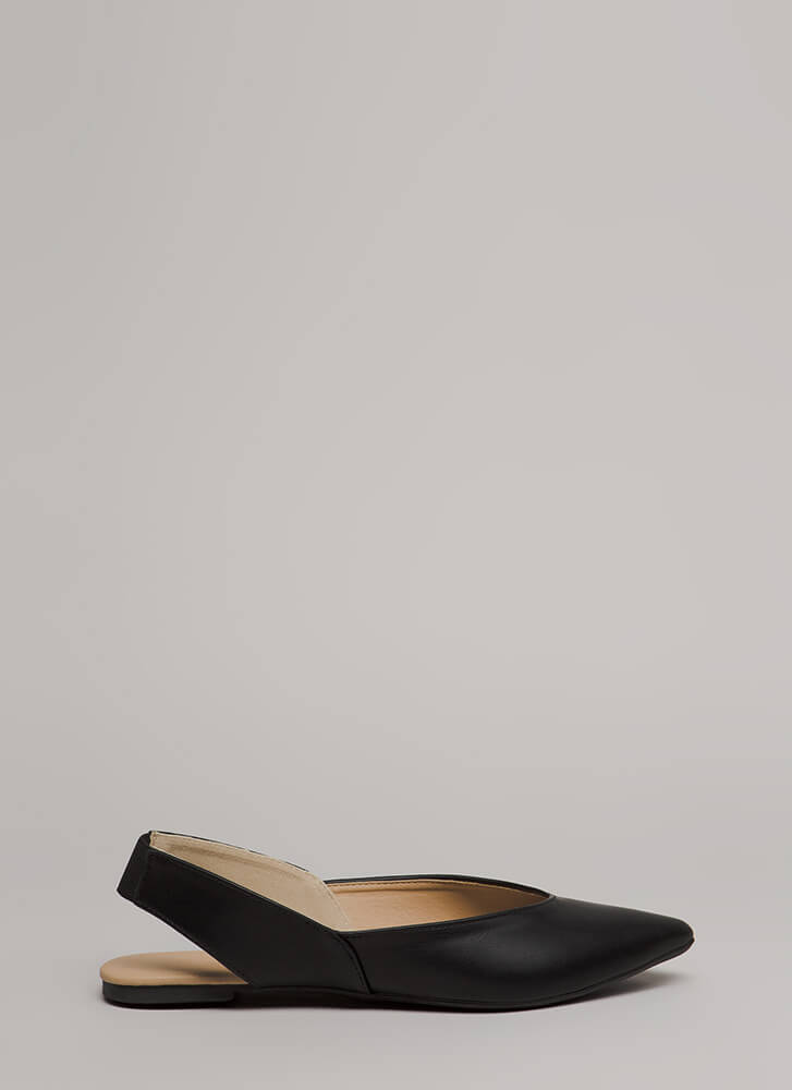 Ready Or Not Pointy Slingback Flats BLACK
