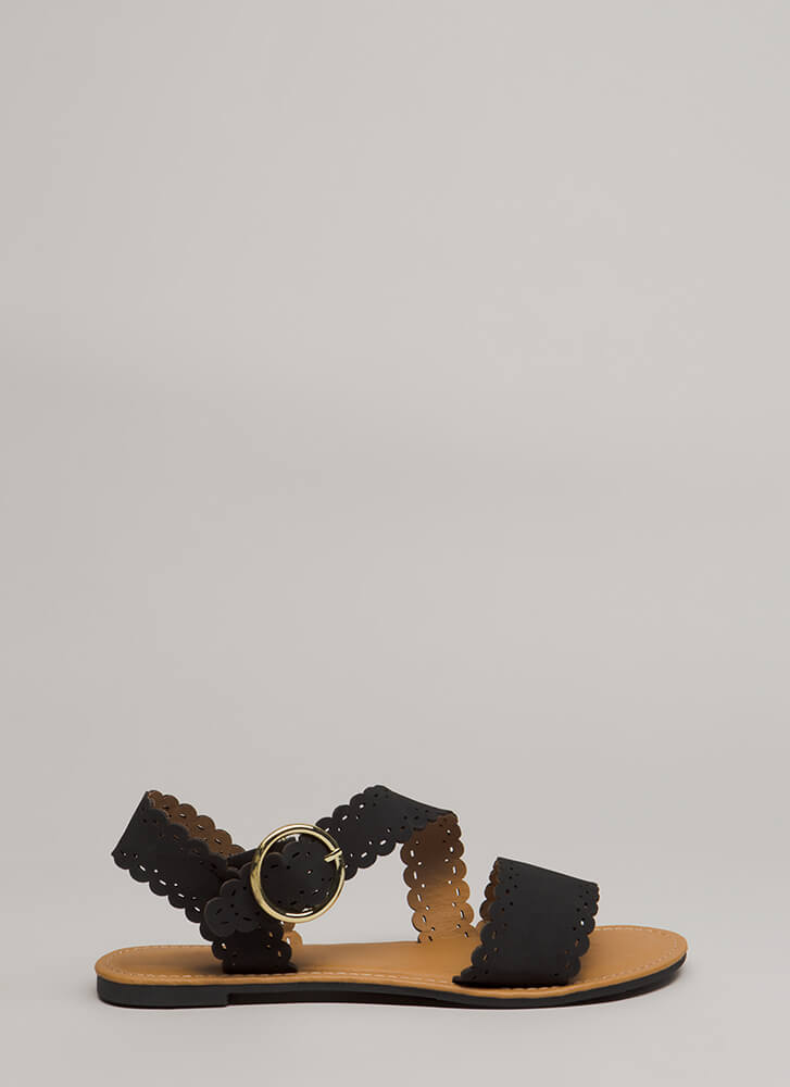 Adored By All Scalloped Sandals BLACK