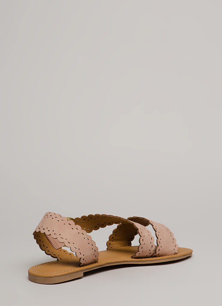 Adored By All Scalloped Sandals BLUSH