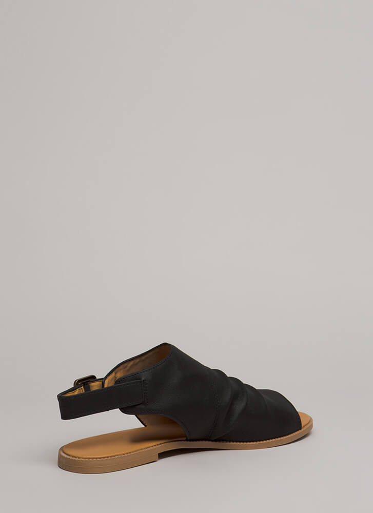 Day After Day Slouchy Peep-Toe Sandals BLACK