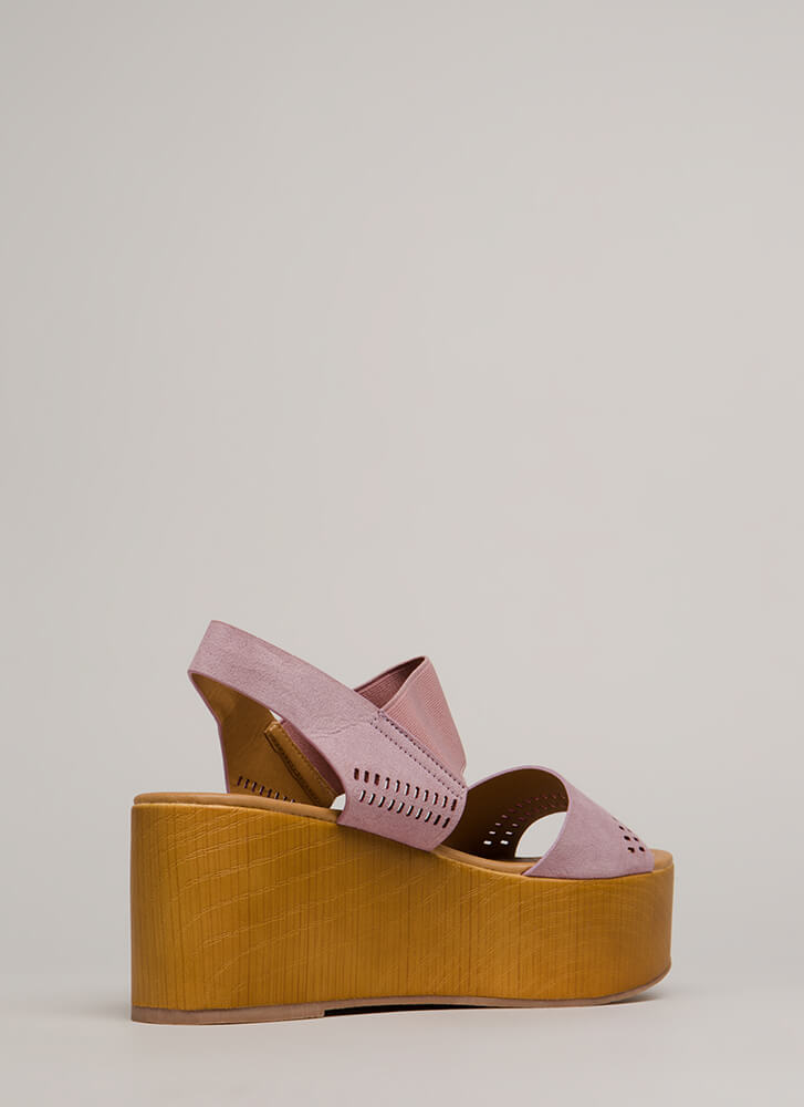 Easy Access Perforated Platform Wedges ASHLILAC (Final Sale)