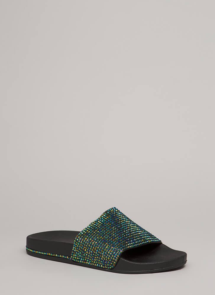 Bling It On Jeweled Trim Slide Sandals BLACK