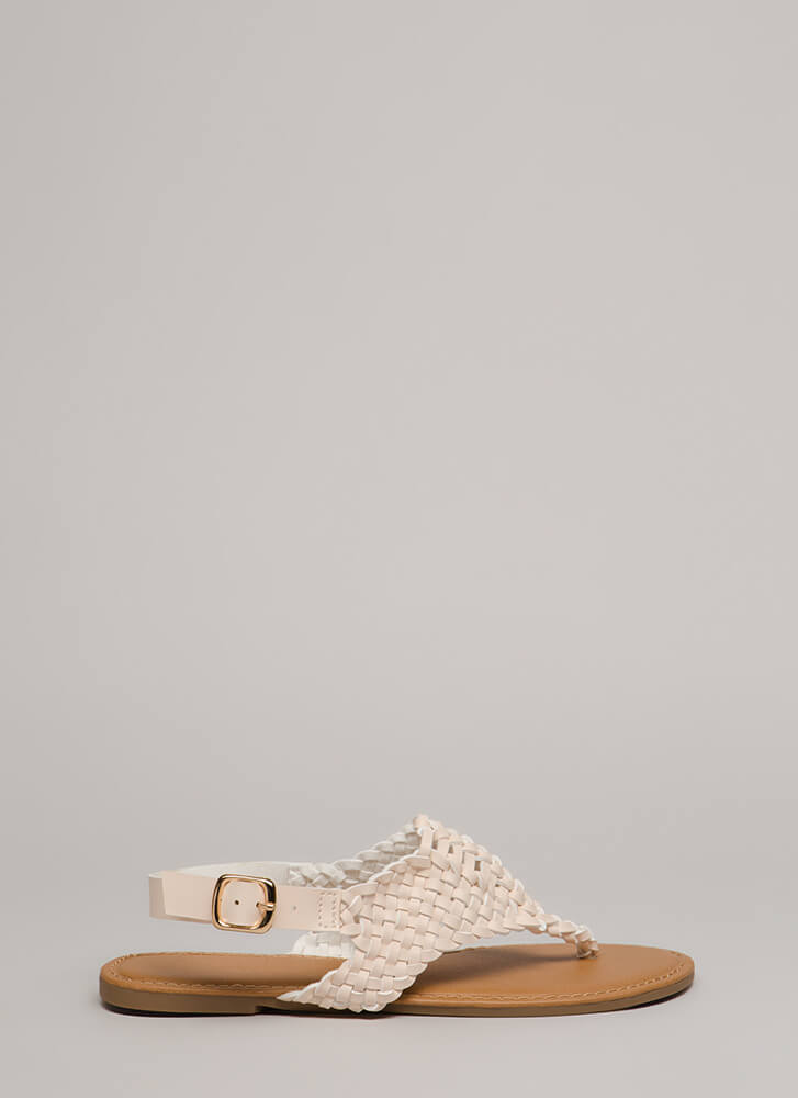 Weave My Tale Latticed Thong Sandals NUDE (Final Sale)