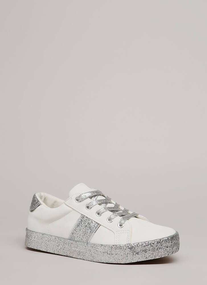 Spark A Conversation Glittery Sneakers WHITESILVER (You Saved $16)