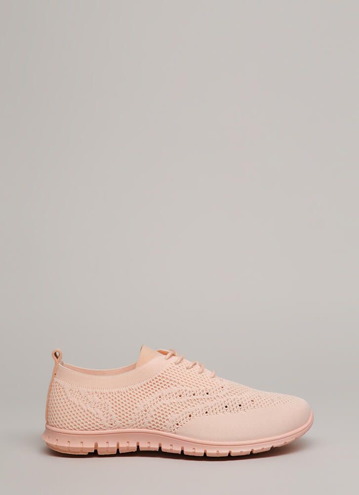 Nice Day Out Textured Knit Sneakers PINK