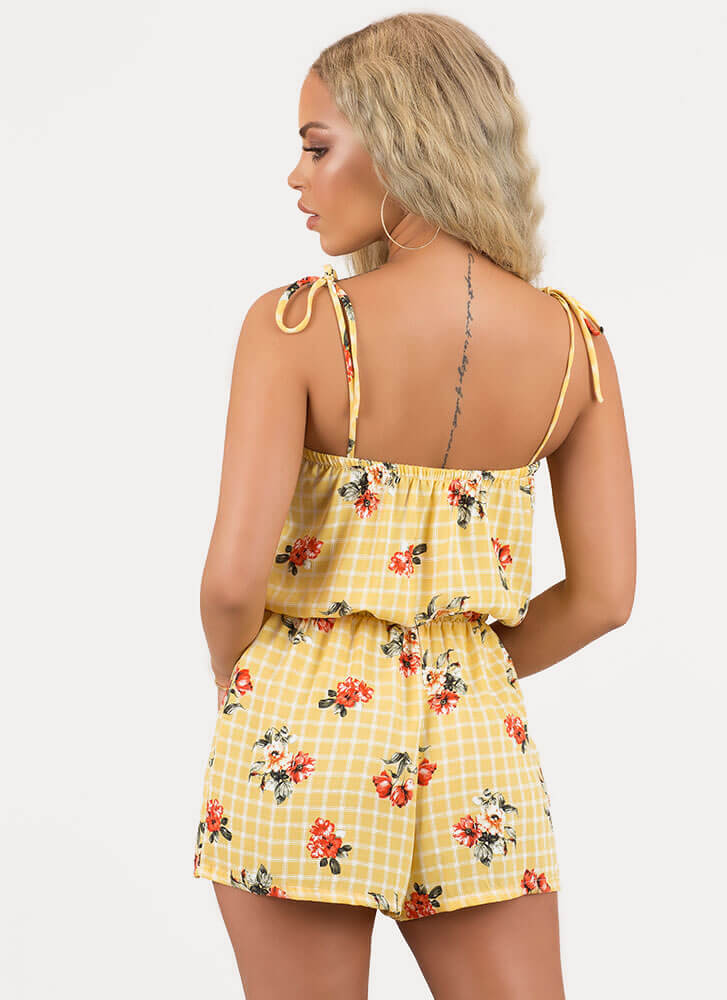 Grid Friday Tied Floral Romper YELLOW