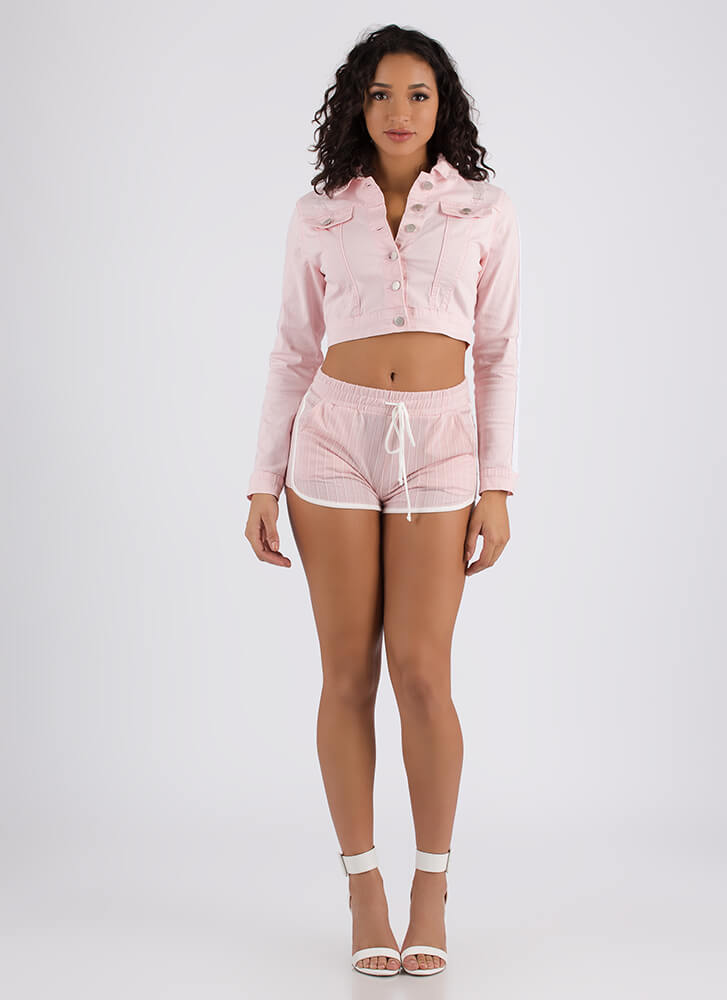 Stripe A Match Cropped Denim Jacket PINK