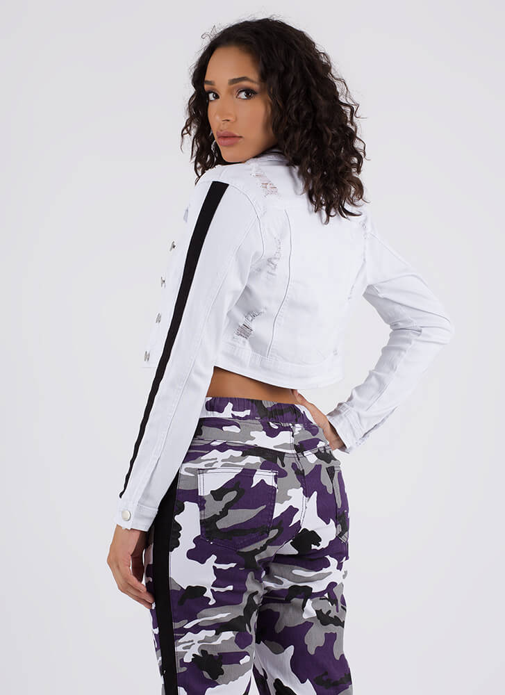 Stripe A Match Cropped Denim Jacket WHITEBLACK
