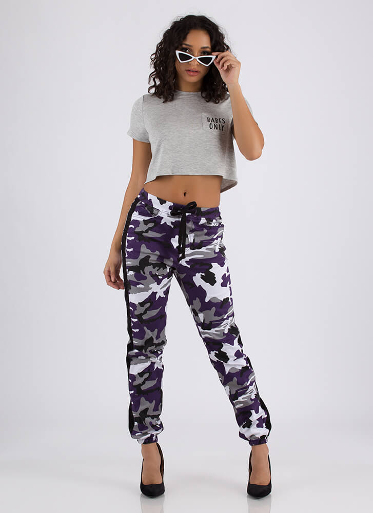 Stand Out Drawstring Camo Joggers PURPLE