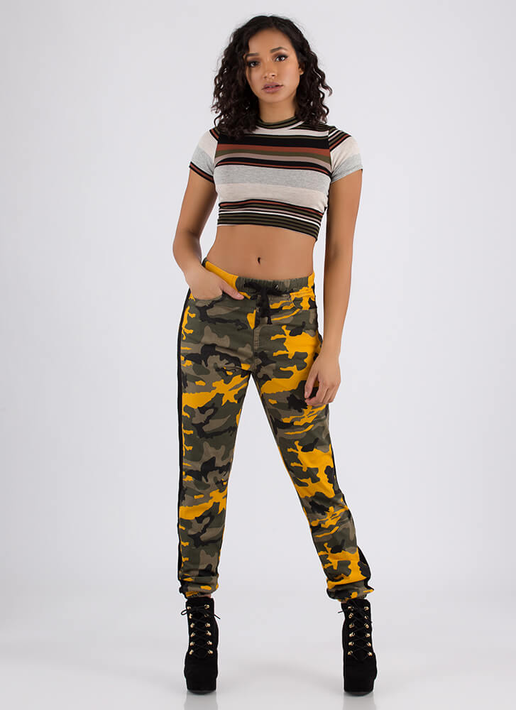 Stand Out Drawstring Camo Joggers YELLOW