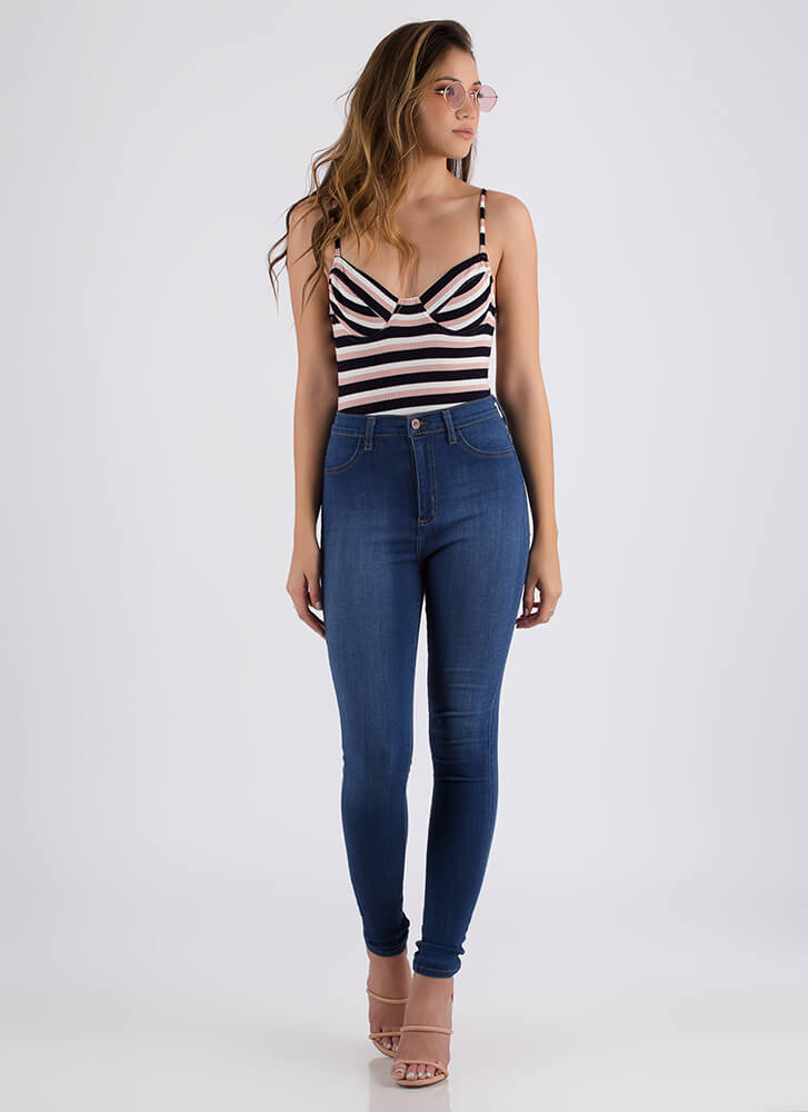 Sexy In Stripes Open-Back Bodysuit BLUSH