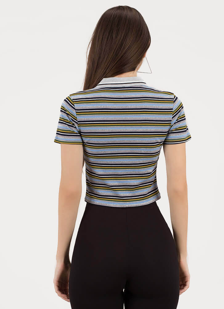 Skate By Striped Collared Zip-Up Top BLUE