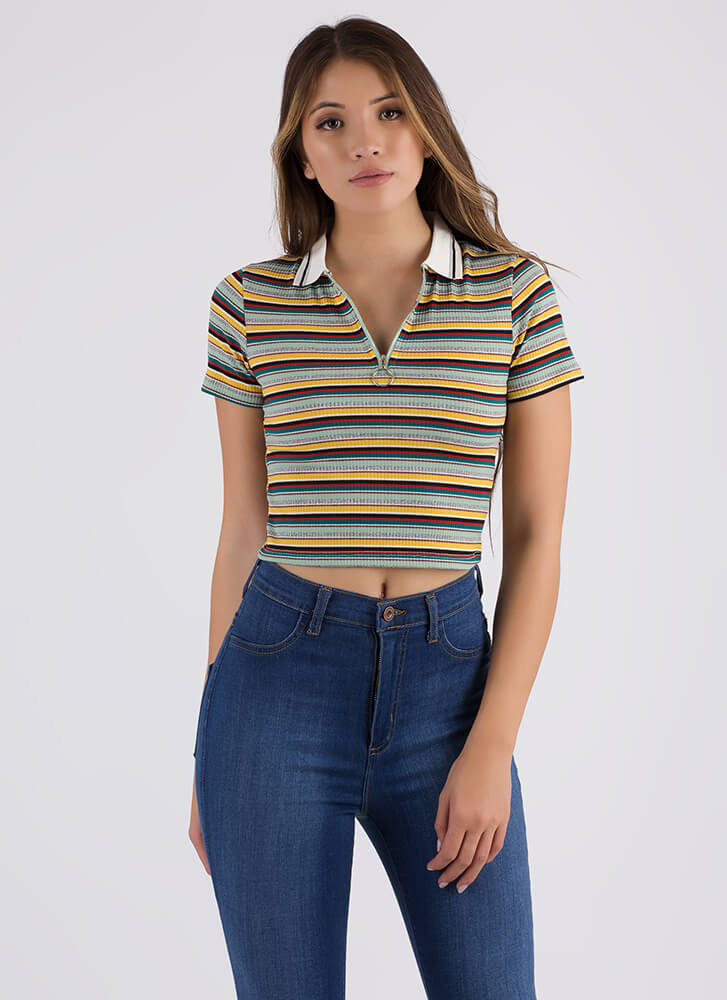 Skate By Striped Collared Zip-Up Top GREEN