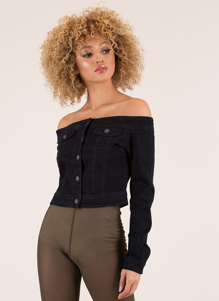 Shrug It Off-Shoulder Denim Jacket BLACK (Final Sale)