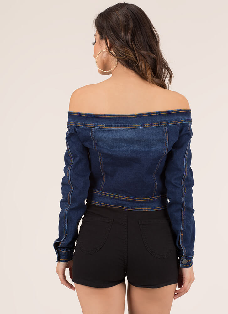 Shrug It Off-Shoulder Denim Jacket DKBLUE (Final Sale)