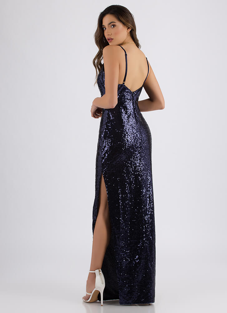 Night Of Stars Sparkly Sequined Gown NAVY