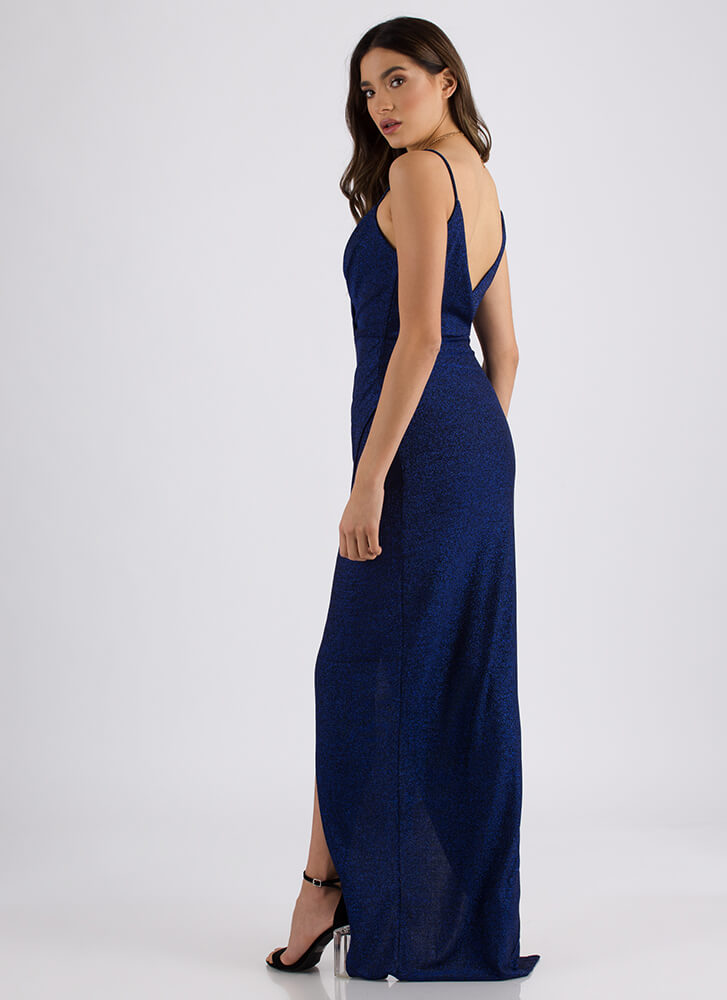All That Glitters Sparkly Draped Gown ROYAL - GoJane.com