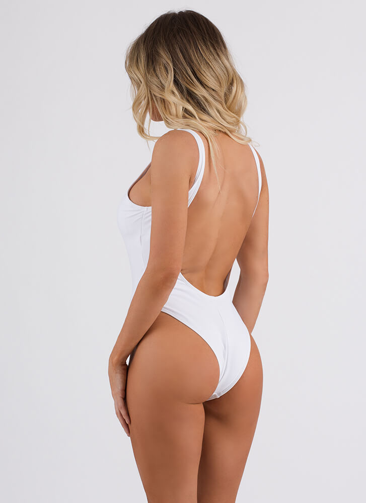 Lifeguard On Duty One-Piece Bathing Suit WHITE (Final Sale)
