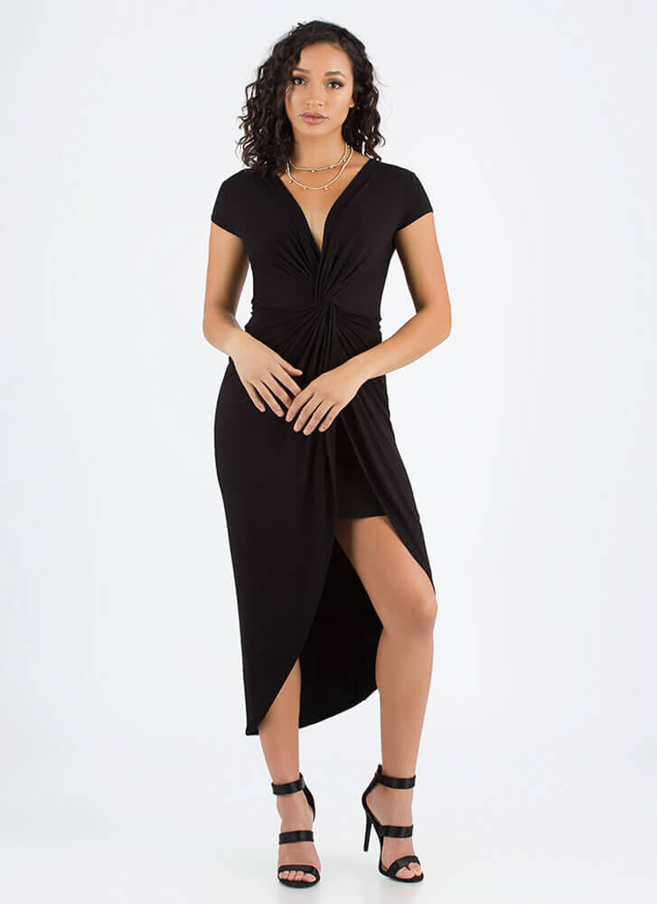 Twist To The Plot Knotted High-Low Dress BLACK