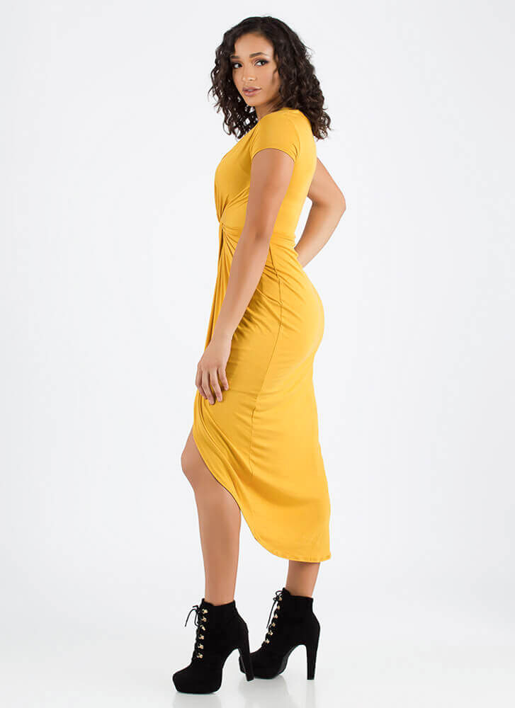Twist To The Plot Knotted High-Low Dress MUSTARD