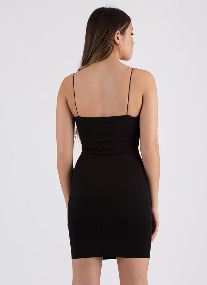 Straight Up Stunning Rib Knit Dress BLACK (You Saved $14)