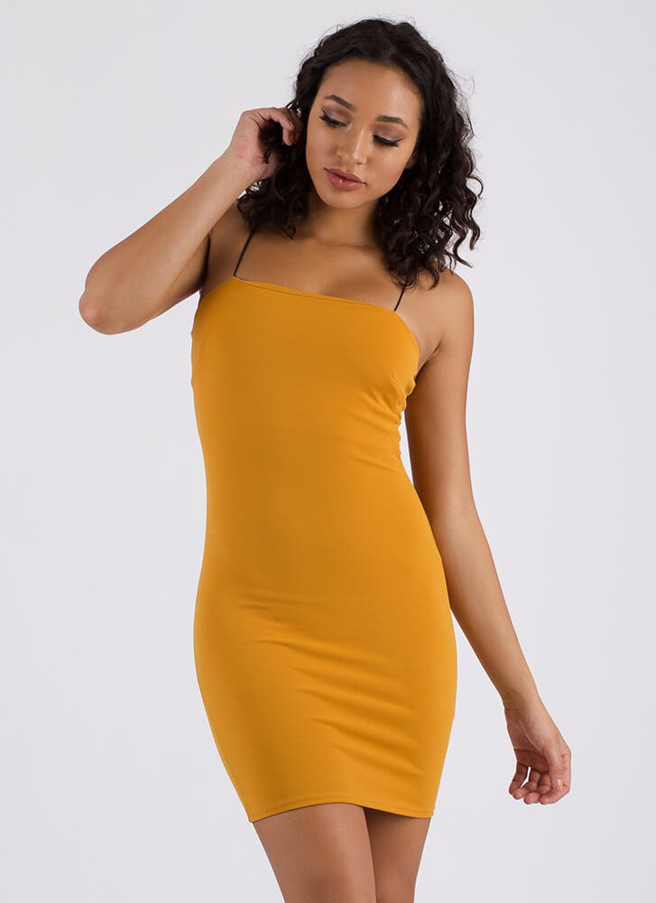 Straight Up Stunning Rib Knit Dress MUSTARD (You Saved $14)