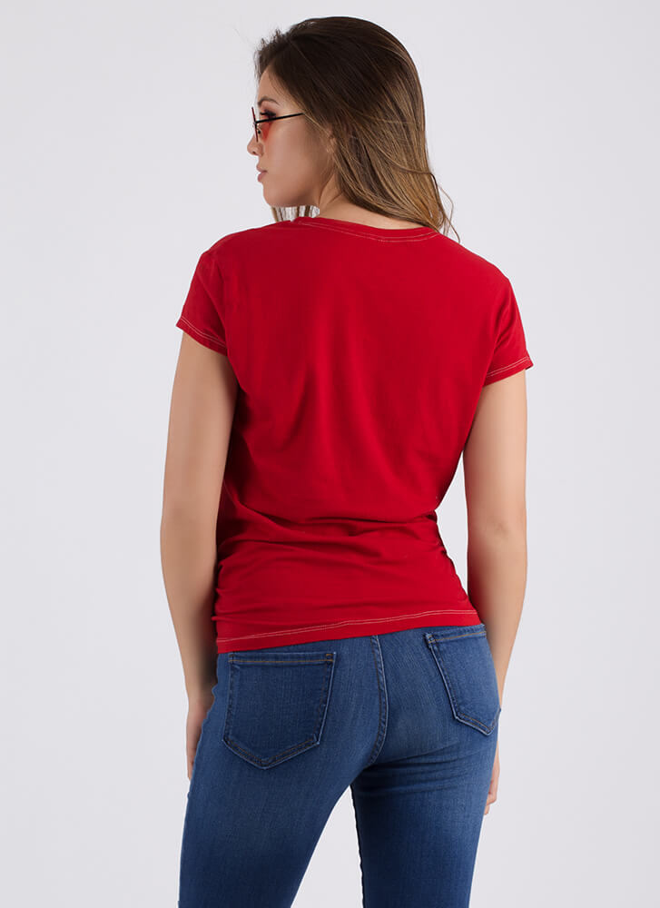 Heart Breaker Knotted Graphic Tee RED