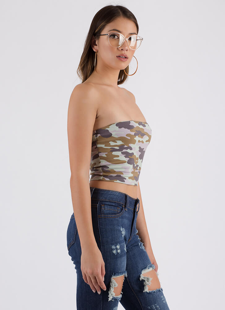 Touch Of Camo Cropped Tube Top GREENCAMO