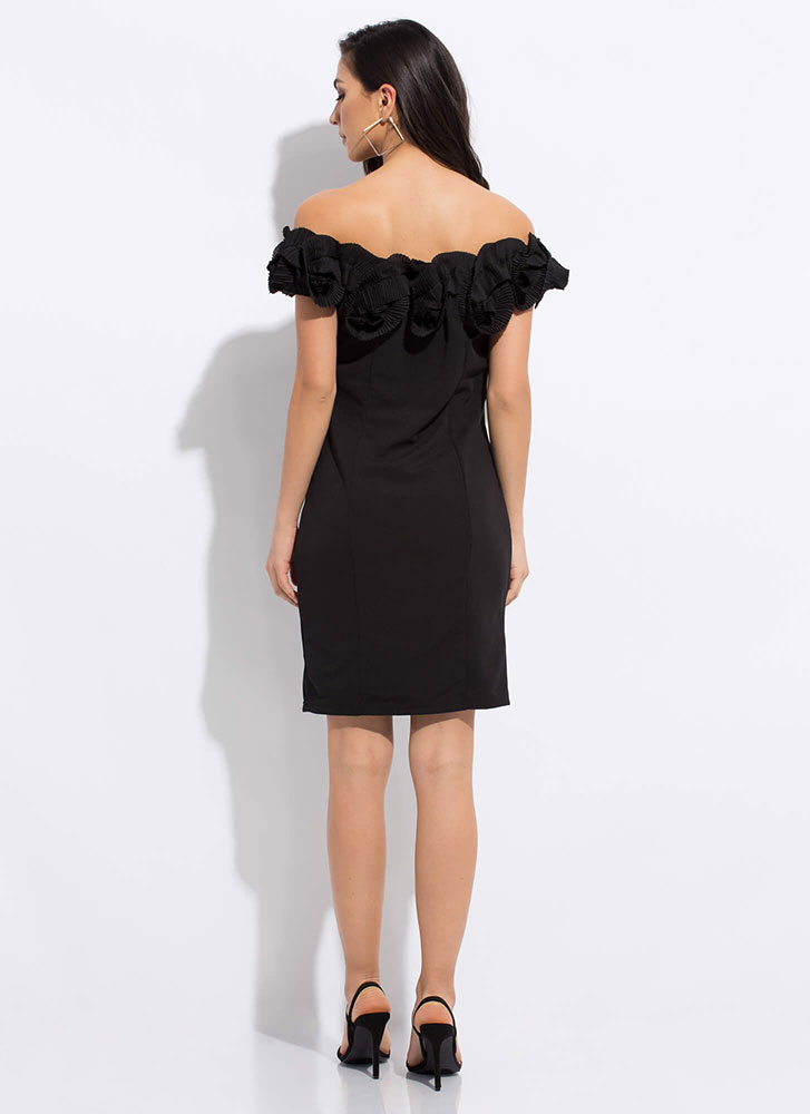 Truly Special Ruffled Off-Shoulder Dress BLACK
