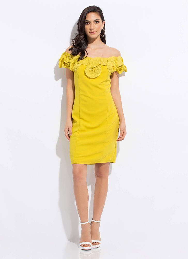 Truly Special Ruffled Off-Shoulder Dress MUSTARD