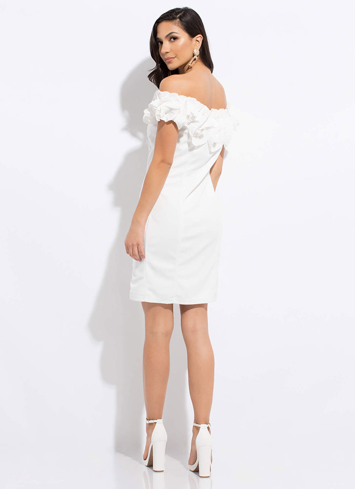 Truly Special Ruffled Off-Shoulder Dress WHITE