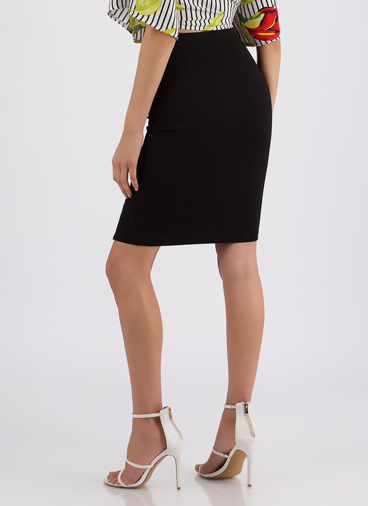 Link Up Chained Slit Pencil Skirt BLACK