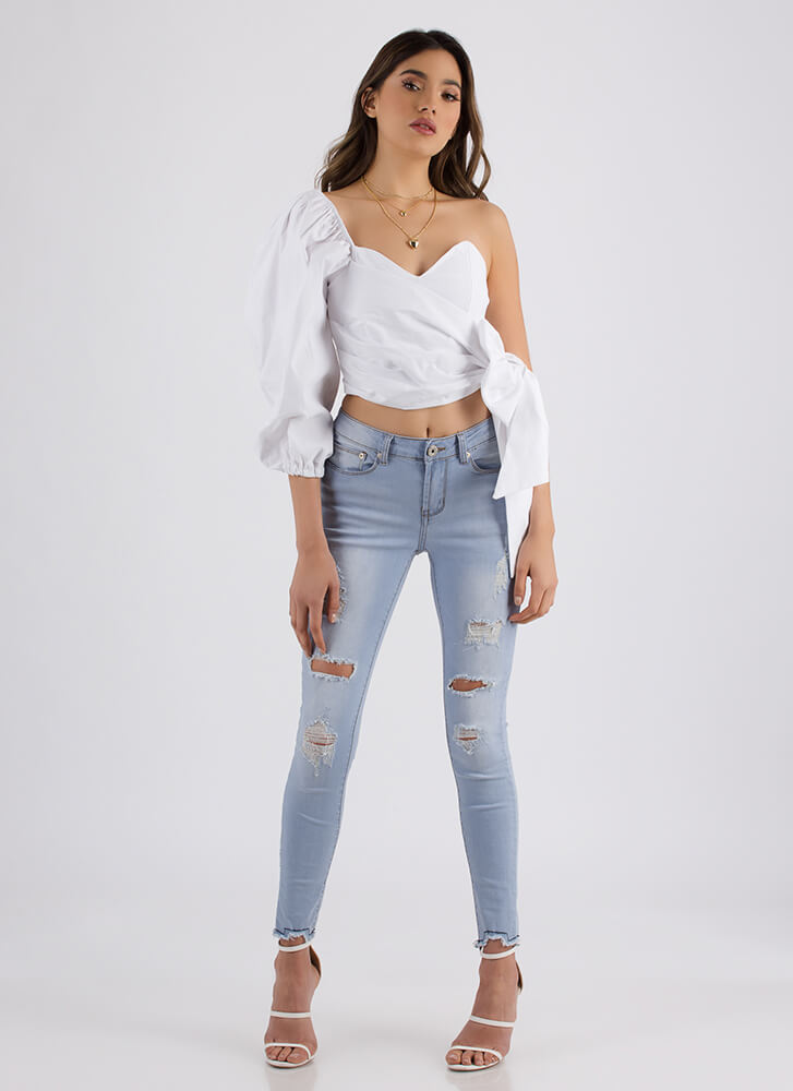 Bow My Goodness Asymmetrical Top WHITE (Final Sale)