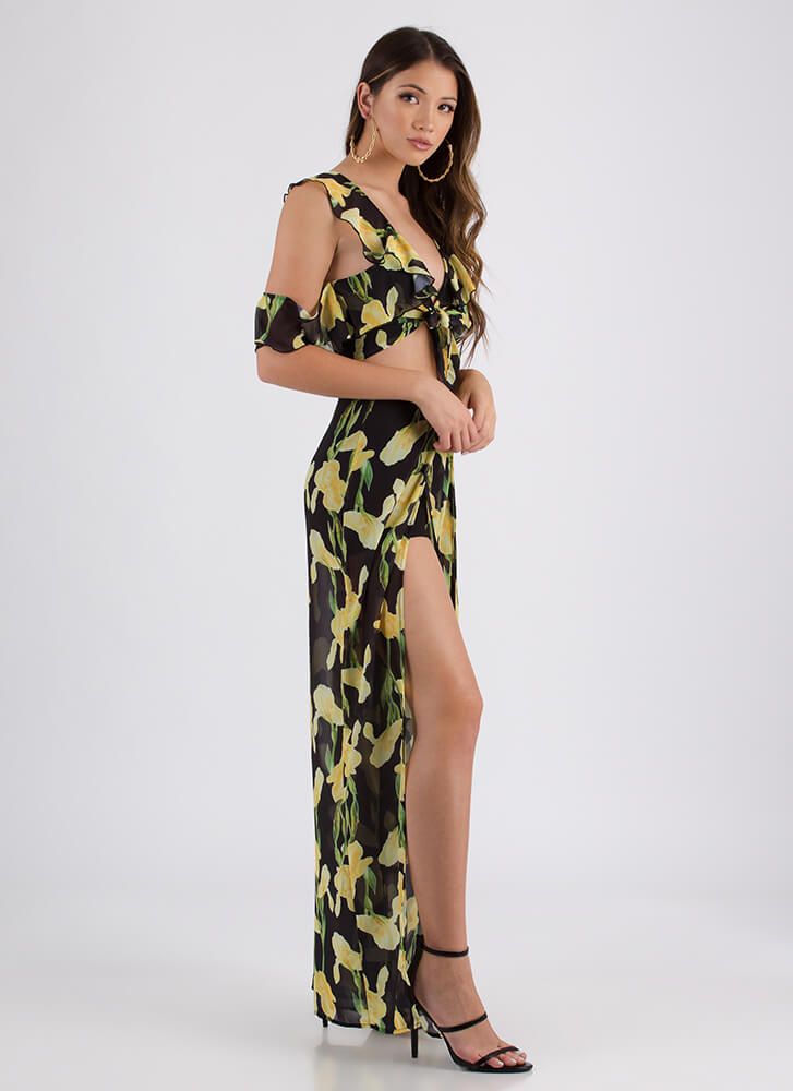 Field Of Irises Floral Top And Pant Set BLACK (Final Sale)