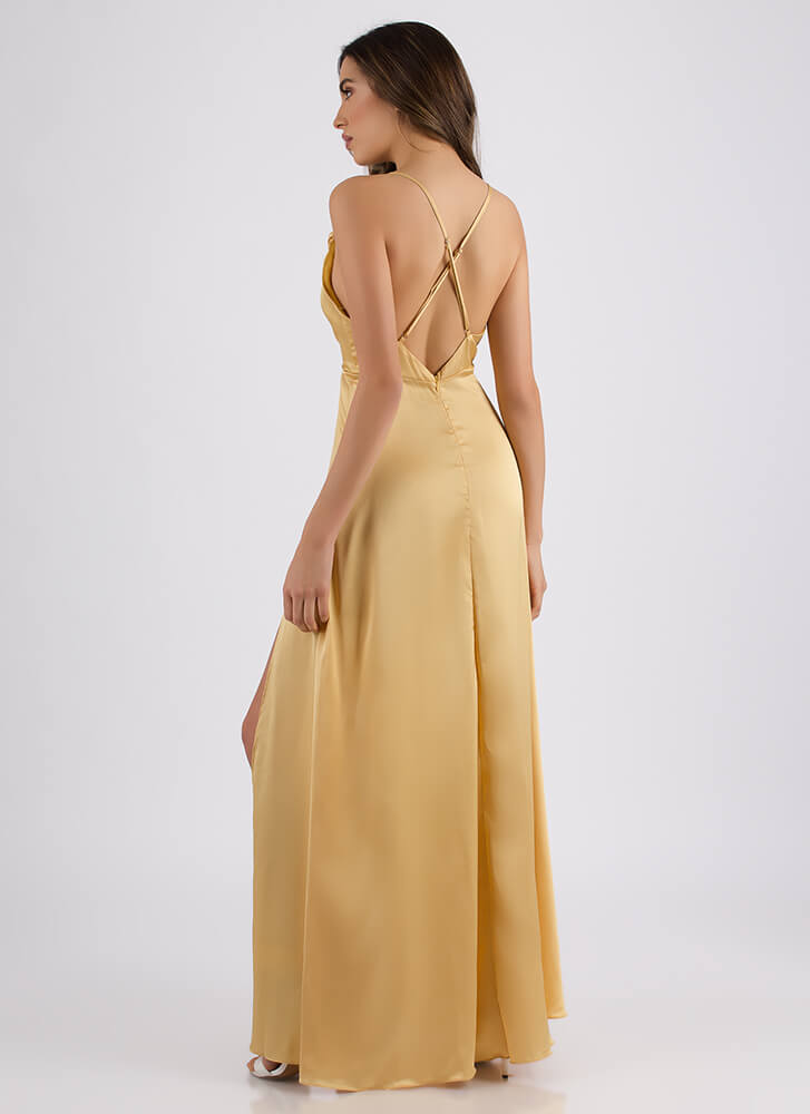 Guest Of Honor Draped Satin Gown GOLD (Final Sale)
