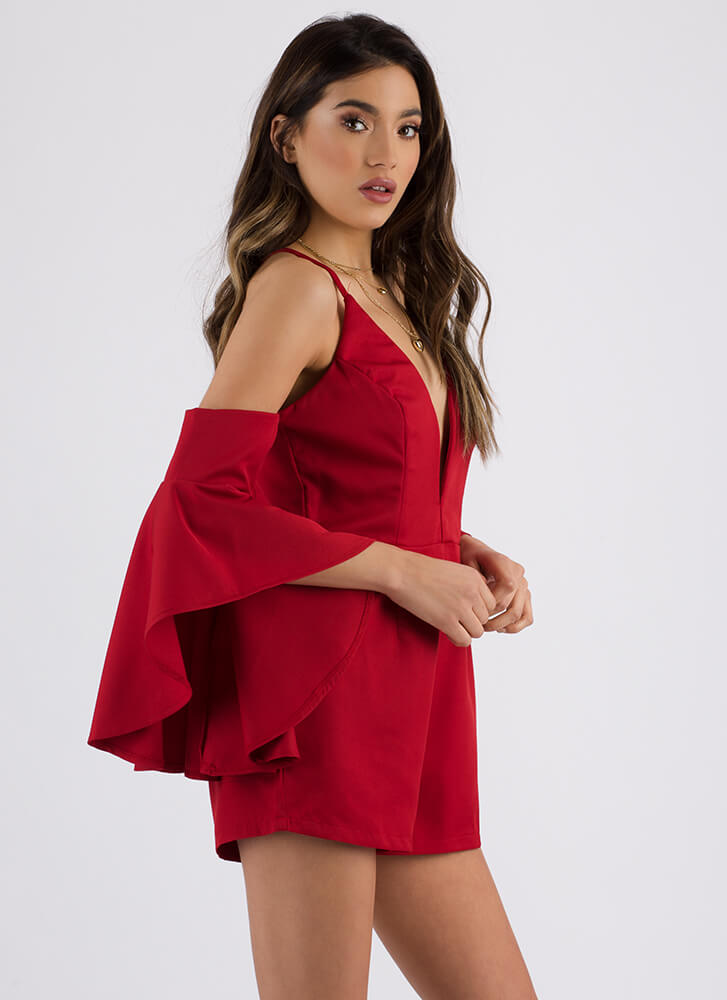 Wing Woman Cold-Shoulder Romper RED (Final Sale)