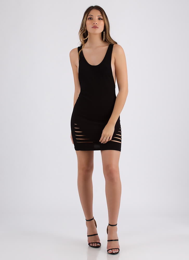 I Need To Vent Slit Muscle Tank Dress BLACK