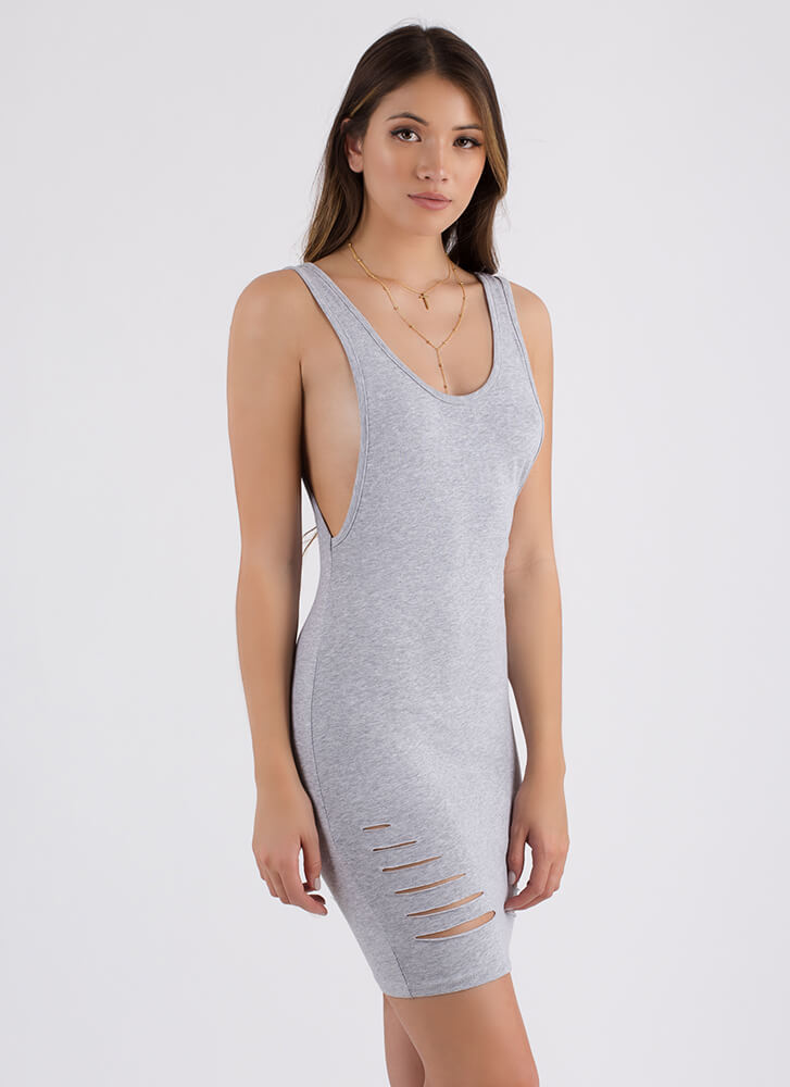 I Need To Vent Slit Muscle Tank Dress HGREY